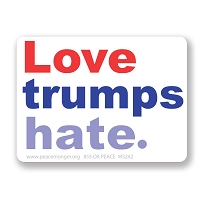 CM242 - Love Trumps Hate - Anti Trump Color Mini Sticker
