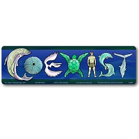 CM036 - Coexist with Sea Life Color Mini Bumper Sticker