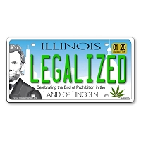 CS007G LEGALIZED Illinois State Cannabis Hemp License Plate Color Sticker