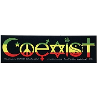 CS111 - Rasta Coexist Color Bumper Sticker