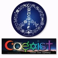 CS141-CS300 Coexist Peace Symbol and CoEclipse Under One Mystery Sticker 2-PACK