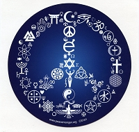 CS141 Coexist Peace Symbol Mosaic Interfaith Mythology Religion Science Decal Bumper Sticker