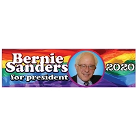 CS155-M - Bernie Sanders For President 2020 Rainbow Color Sticker