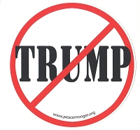 MS155-X -  NO TRUMP Anti Trump Red Slash through Trump Name Color Mini Sticker