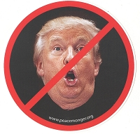 MS155-Y - NO TRUMP Anti Trump Red Slash through Trump Photo Color Mini Sticker