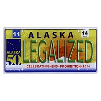 CS173 Legalized Alaska Cannabis Hemp Marijuana Leaf Legal Pot License Plate Color Sticker