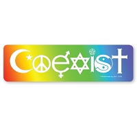 CM105 - Coexist in a Rainbow Interfaith Color Mini Sticker
