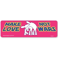 CS197-MAG Make Love Not Wars Star Wars Quote Parody Color AUTO Sticker MAGNET