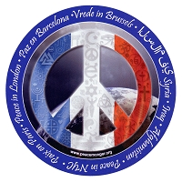 CS201-C-MAG - Peace in France Interfaith Coexist symbol Flag Sticker MAGNET