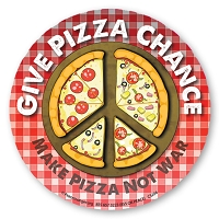 CS204-MAG  Give Pizza Chance Make Pizza Not War Peace Sign Color Sticker