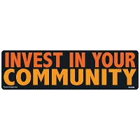 CS208-MAG Invest in Your Community Lg Color Sticker MAGNET Made in USA