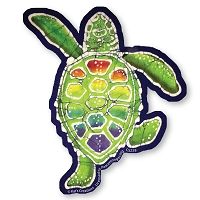CS238 Kats Creations Batik Rainbow Terrapin Sea Turtle Cut Out Sticker Decal