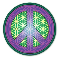 CS245-A - Flower of Life Peace Symbol Purple Color Sticker