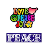 CS248-S003  Love Peace Joy and Peace Languages Large color Bumper Stickers 2Pack