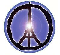 CS253 - Peace in France Eiffel Tower Round Sticker
