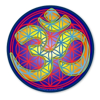 CS256-B - Flower of Life Gold Om Symbol Color Sticker