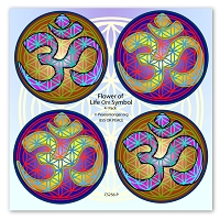 CS256-P - Flower of Life Om Symbol Color Mini Sticker 4 Pack