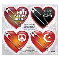 CS261 - Safety Pin Hearts Protest Mini Sticker Pack 1