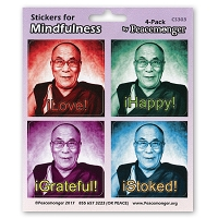 CS303 - Dalai Lama - Love - Happy - Grateful - Stoked Color Mini Sticker Four Pack
