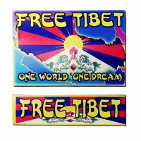 CS306-MAG Free Tibet One World 2 Pack Buddhism Peace Sticker Decal Magnets