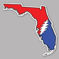 CS312 - Deadhead States - Grateful Florida Lightning Bolt Red White and Blue Color Sticker