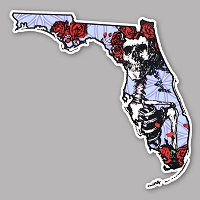CS313 Grateful Florida Deadhead States Skeleton and Roses Woodcut Cut Out Sticker Decal
