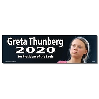 CS316 Greta Thunberg 2020 for President of the Earth Color Bumper Sticker