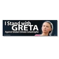 CS317 I Stand with Greta Against Global Climate Catastrophe Color Bumper Sticker