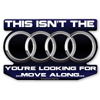 CS324 Audi Star Wars Parody Jedi Mind Trick Color Sticker