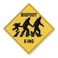 CS333 Bigfoot Crossing Caution Sign Yeti Sasquatch Sticker