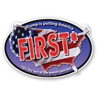 CS363-MAG Trump is Putting America First No Trump Never Trump Sticker MAGNET