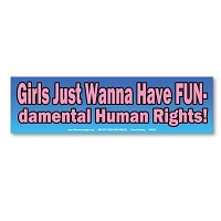 CS370-MAG- Girls Wanna Have FUNdamental Fun Human Rights Womens March Sticker MAGNET