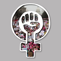 CS371-MAG Woman Power Symbol Women's March Protest Cut Out Sticker MAGNET