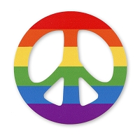 CS381 Rainbow Peace Symbol LGBT Gay Rights Cut Out Bumper Sticker Decal