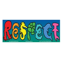 CS401 RESPECT Sea Life Ocean Animals Octopus Dolphins Sharks Rainbow Bumper Sticker