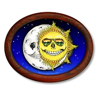 CS457 Grateful Hug Skeleton Sun Moon Jaspar Original Oval Sticker