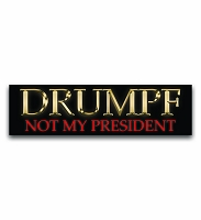 CM283 - DRUMPF NOT MY PRESIDENT Gold Letter Color MINI Sticker