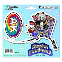 DS002 Alaska Deadhead SYF Lightning Bolt Grateful Dead State 3 Sticker Set