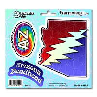 DS003 Arizona Deadhead SYF Lightning Bolt Grateful Dead State 3 Sticker Set