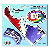 DS008 Delaware Deadhead SYF Lightning Bolt Grateful Dead State 3 Sticker Set