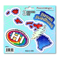 DS011 Hawaii Deadhead SYF Lightning Bolt Grateful Dead State 3 Sticker Set