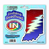 DS014 Indiana Deadhead SYF Lightning Bolt Grateful Dead State 3 Sticker Set