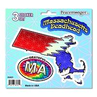 DS021 Massachusetts Deadhead SYF Lightning Bolt Grateful Dead State Sticker