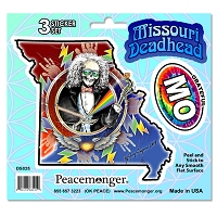 DS025 Missouri State Deadhead Jaspar Original Laughing Jack Grateful Dead 3 Sticker Set