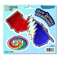 DS030 New Jersey Deadhead SYF Lightning Bolt Grateful Dead State 3 Sticker Set