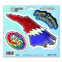 DS033 North Carolina Deadhead SYF Lightning Bolt Grateful Dead 3 Sticker Set