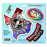 DS043 Texas State Deadhead Jaspar Original Laughing Jack Grateful Dead 3 Sticker Set