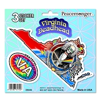 DS046 Virginia Deadhead SYF Lightning Bolt Grateful Dead State 3 Sticker Set