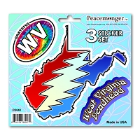 DS048 West Virginia Steal Your Face Lightning Bolt Grateful Dead State 3 Sticker Set