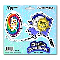 DS052 Alaska Deadhead Skeleton Sun Moon Grateful Dead State 3 Sticker Set